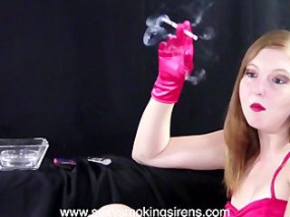 cherie red formal gown gloves cigarette example