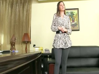 fake agent having group sex on leather ottoman