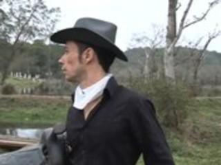 latino hunk cowboys give blowjobs previous to
