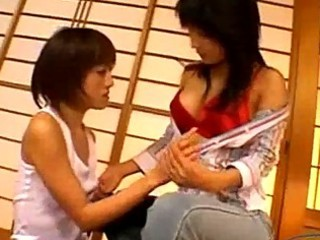 oriental gal getting her fake dick rubbed licking