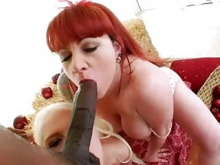 sluty redhead and golden-haired taking turns in