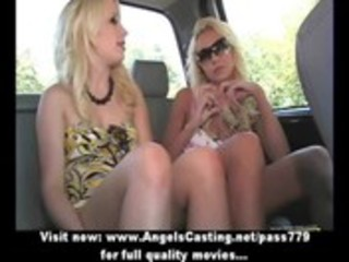 sexy golden-haired lesbo babes flashing