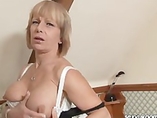 aged british blond stuffs bawdy cleft with bulky