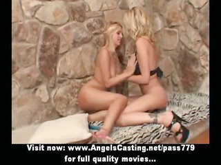 lesbo pair in 74 and toying cunt with blue dildo