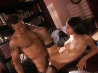 seductive secretary in darksome nylons rides hard