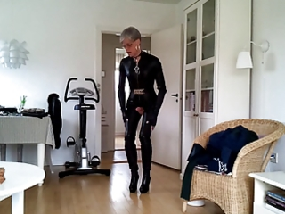 sissy hot leather catsuit 7