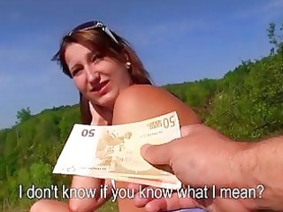dilettante model persuaded with cash to fuck
