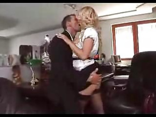 golden-haired secretary rides in nylons sm98