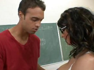 breasty teacher learns his student how to fuck a