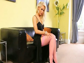 golden-haired chick coed in pink stockings