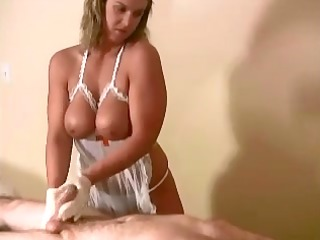 big bumpers nurse gives worthy cook jerking to