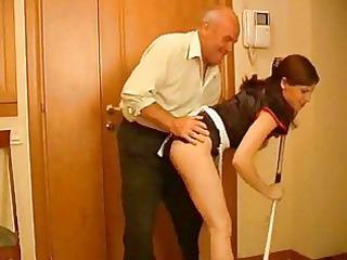 seductive dark brown maid receives rammed by old