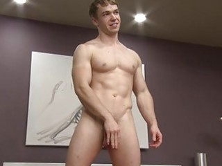 muscle homo fellow jerking off in the bedroom