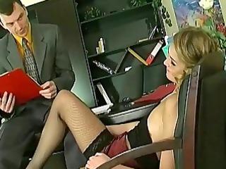 flirty secretary opens wide to p...