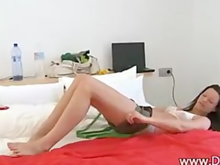 russian beauty trying red fake penis