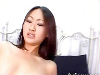 oriental hottie cowgirl riding large white penis