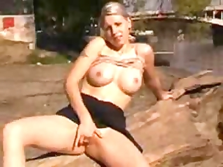 breasty wife fingering her arsehole outdoor