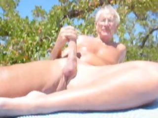 mature fellows cumming on the beach
