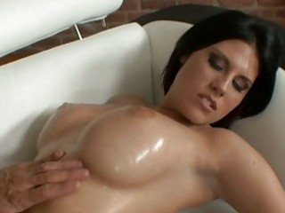 marvelous breasty dark brown acquires boobe oiled