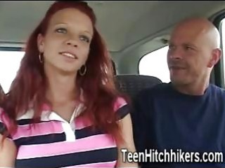 hitchhiker redhead receives group-fucked in the