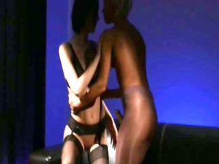sexually excited dark brown engulfing penis of