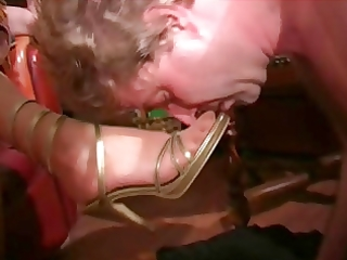 aged femdom-goddess in nylons once more