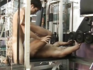 homo hunk riding a pounder in the gym