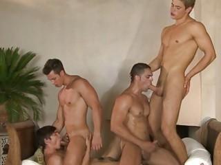 four attractive homo hunks having wild group sex