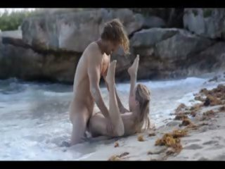 elegant art sex of slutty pair on beach