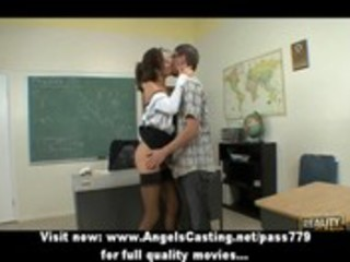 sexy brunette hair teacher has cum-hole licked