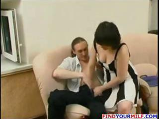 older brunette hair russian housewife receives