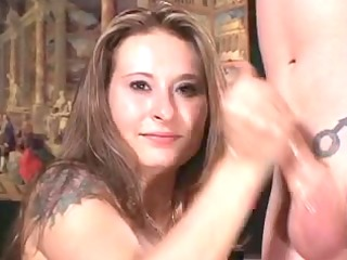 youthful chick gives cook jerking