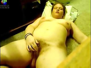 curly big beautiful woman play on webcam
