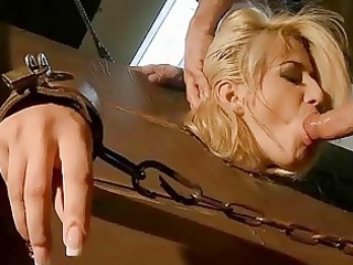 chic golden-haired acquires bondaged and drilled