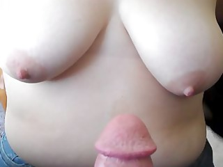 cumming on her large whoppers