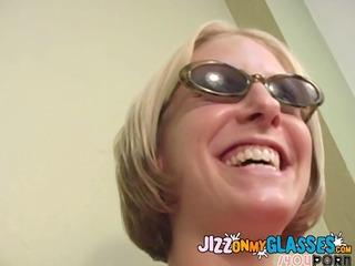 ryan star acquires her glasses jizzed facial cum