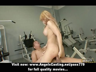 charming non-professional blond playgirl doing