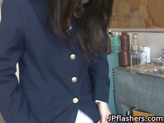 astounding oriental schoolgirl shows off her part1