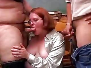 cute overweight redhead sucks rods