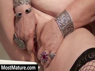 blond granny with saggy bit love melons rubs her