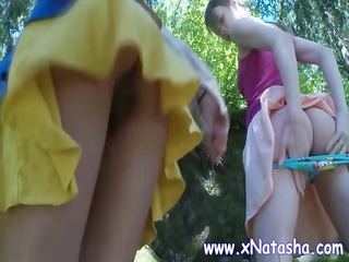 legal age teenager lesbos are out in the woods