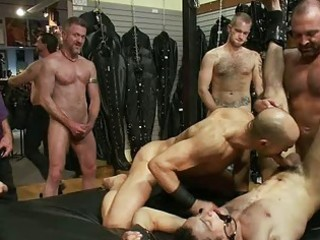 tattooed homosexual fellow receives bound and