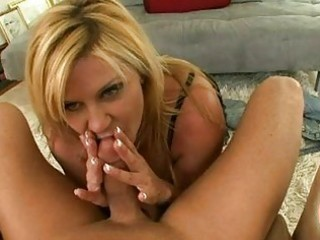 golden-haired momma ginger lynn slurping a thick