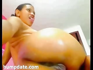 hot darksome chick fisting her squirting cunt