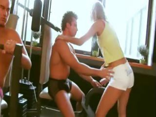 golden-haired model at gym banged hard