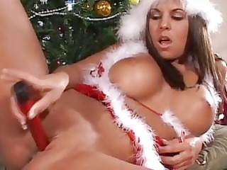 nasty santa nicole graves playing with her xmas