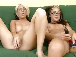 fine geek gals plays with 1 different dildos