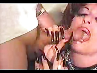 vintage whore with weird fingernails gives a oral