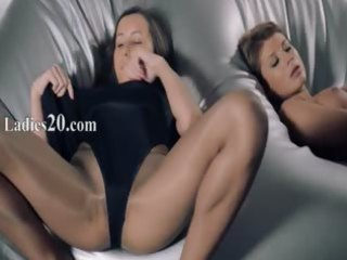 hotties in hose fucking with belt on