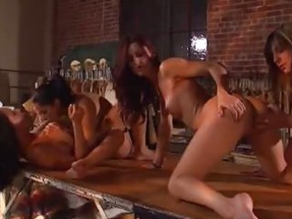 sexy lesbo group sex act in workshop